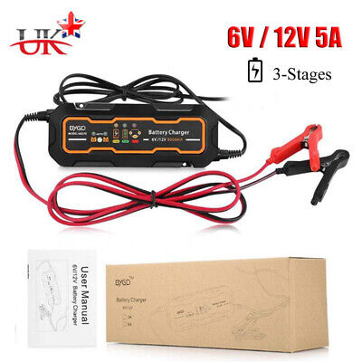 12V 5A Motorcycle Car Trickle RV 3 Step Smart Battery Charger Automatic