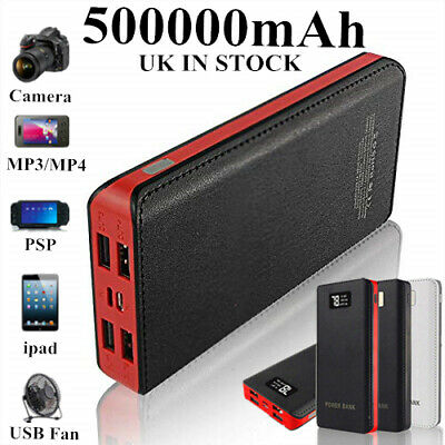 500000mAh Power Bank 4 USB Backup External Battery Pack Charger for Cell Phone