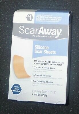 """ScarAway Silicone Scar Sheets 4 Sheets 1.5"""" x 3"""" NIB New in BOX"""