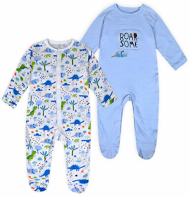 Baby Boys 2 PACK Babygrow Kids Dinosaur Sleepsuit 100% Cotton Age NB - 18 Months