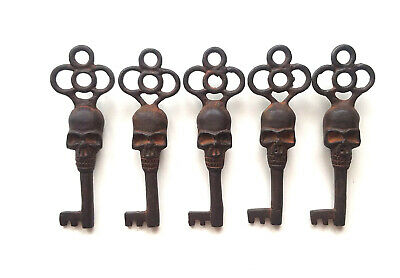 Victorian Large Skull Keys Vintage Antique Style Cast Iron Skeleton Key Lot of 5