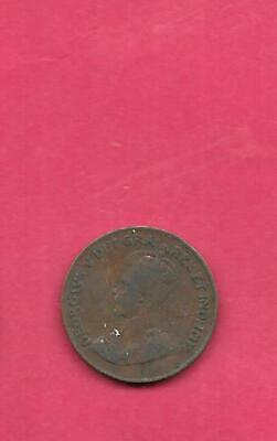 Canada Canadian Km28 1920 Vf-Very Fine-Nice Old Antique Bronze Small Cent Coin