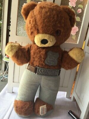 Vintage Ideal Tagged Plush Smokey Bear With Belt Buckle, Badge 1950s