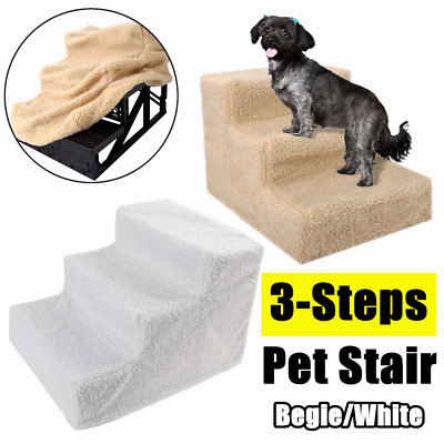 3 Steps Pet Stairs Cat Puppy Step Ladder Dog Small Animal Climb Ramp Beige/White