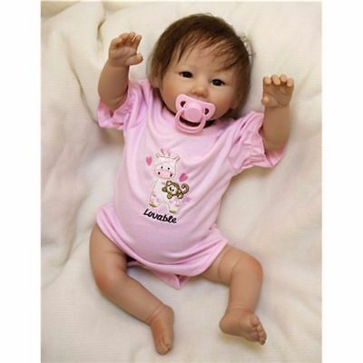 20'' Reborn Baby Dolls Lifelike Silicone Vinyl Girl Realistic Doll Rooted Mohair