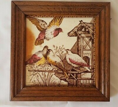 Stunning Framed English Bird Design Antique 6 Inch Tile. Circa 19Th Century