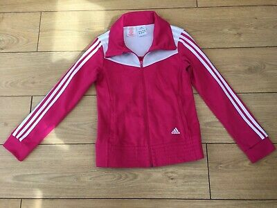 Adidas Full Zip Pink Girls Jacket Size Uk 32/34
