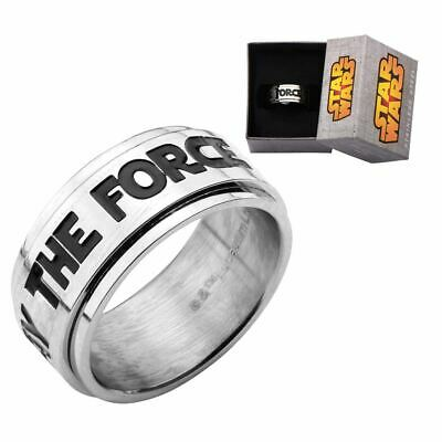 Star Wars MAY THE FORCE BE WITH YOU Spinner Band Ring - Boxed S Steel Jewellery