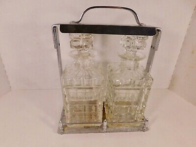 Vintage Scotch and Rye Etched Crystal Decanters with Lockable Tantalus (Caddy)