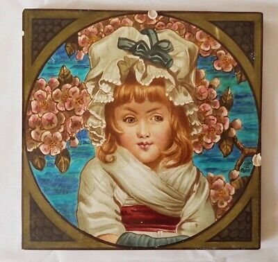 Large  Antique Copeland Tile With Hand Painted Portrait Of Little Girl