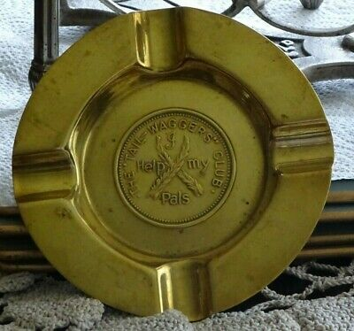 Vintage Tail Waggers Club I Help My Pals Brass Ashtray