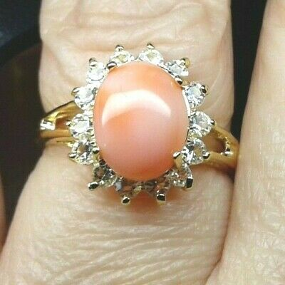 Ring Vergoldet 18k Ge Stein Koralle Pink Zirkone Gold Plated Ring