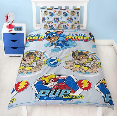 Paw Patrol Super Pups Single Duvet Cover Reversible Bed Set Mighty Pups