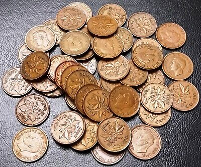 Lot of 50x Canada Small Cents Pennies - Dates: 1940 to 1943