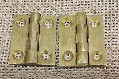 "2 TINY Cabinet door hinges Butts vintage brushed brass 1 x 7/8"" jewelry box"