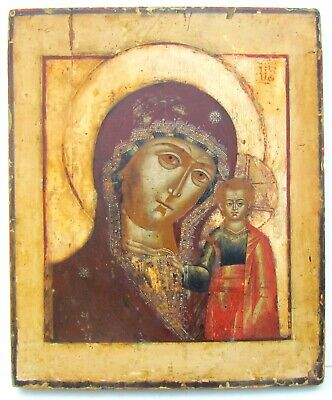 RUSSIAN ICON of KAZAN MOTHER OF GOD late 18th CENTURY antique