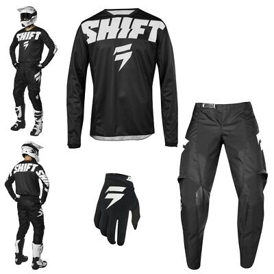 Shift WHIT3 York Combo schwarz MX Enduro Motocross Shirt Hose Handschuhe
