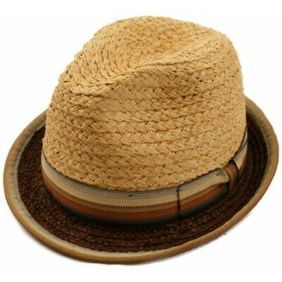 Retro 1940s 50s Mens Straw Trilby Style Summer Sun Hat With Striped Outer Band