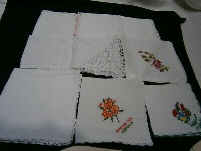 9 Vintage Pre-Loved Ladies Hankerchiefs  - 4 Embroidered Flowers - 5 Lace Edging