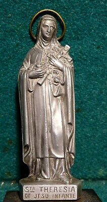 """ST. THERESE OF LISIEUX Old METAL FIGURE STATUE w/ WOOD PEDESTAL 3.66"""""""