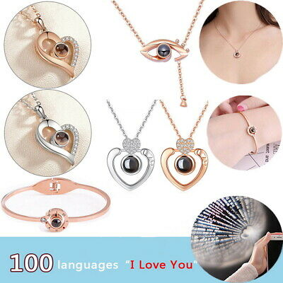 100 Languages I Love You Pendant Necklace Light Projection Love Memory Rose Gold