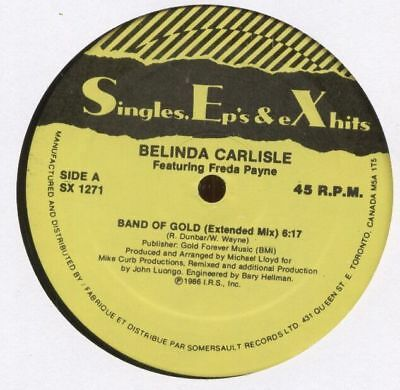 "BELINDA CARLISLE 1986 CANADIAN 12"" Single BAND OF GOLD SX1271	 	MINT"