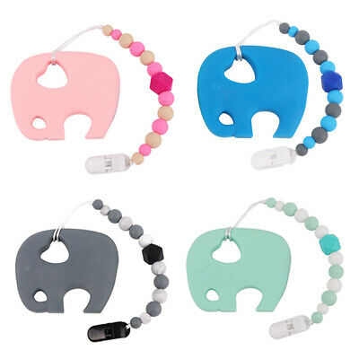 Elephant Baby Teether Nursing Teething Toy Pacifier Chain Silicone Soother Gift