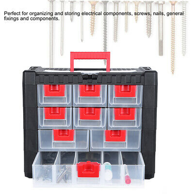 DIY Storage Tool Box Carry Case - 4 Drawers & Organiser Dividers Screws, Nails