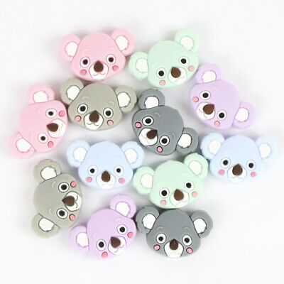6X Silicone Beads Baby Teether Teething Toy Bear Bead Necklace Pacifier Chain