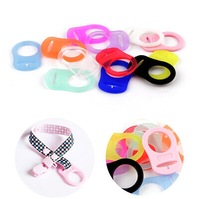 5X Baby Silicone Button Ring Pacifier Holder Clip Dummy Adapter Clips Food Grade