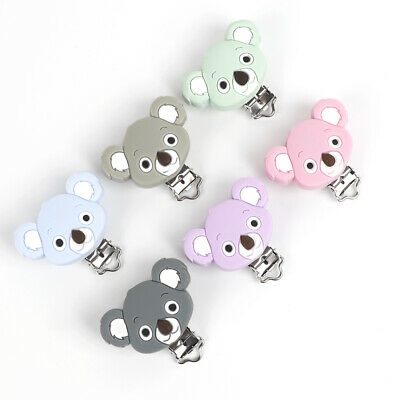 1X Silicone Dummy Clips Baby Teething Toy Teether Clip Pacifier Chain Bear DIY