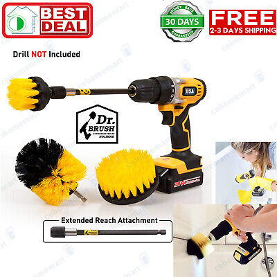 Set 4 Pack Drill Scrub Brushes Cleaning Extended Long Attachment Power Scrubber