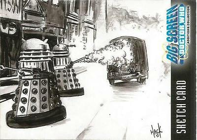 Dr Doctor Who Big Screen Additions Sketch Card by Robert Hack of two Daleks