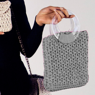 HOOKED DIY Crochet Kit Marbella Bag RibbonXL Silver Grey