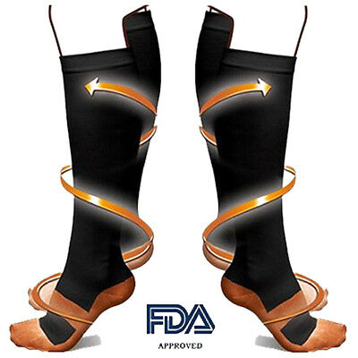 Copper Infused Knee High Compression Socks Leg Support Stockings 20-30 mmHg US