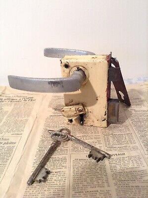 Vintage French Door Lock, Finger Plate, Handles & Key - Working (3824)