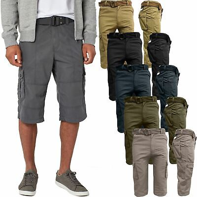 Mens Cargo Combat Long 3/4 Belted Twill Chino Shorts Below Knee Multi Pockets