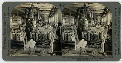NORWAY 1910's Education Set Keystone Stereoview Making Wood Pulp at Paper Mill