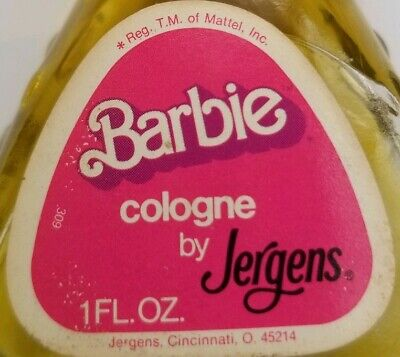 Vtg Barbie Cologne by Jergens 1 oz. 3/4 full glass bottle Mattel
