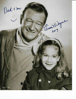 Aissa Wayne With Dad John Wayne 1960 Signed 8X10 Glossy With/Coa Rare-Shot/Rare/