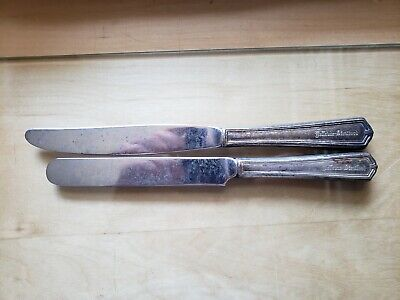 """2 Antique,Vintage Collectible Knives 9""""8.5"""" Stratford Silver Plate Hollow Handle"""