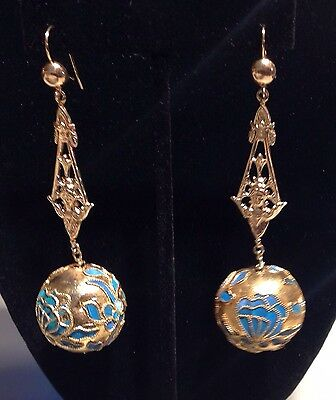 Rare Chinese Kingfisher Wing Long Chandelier Earrings With 14K Art Nouveau Tops