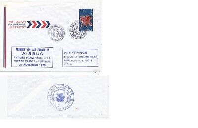 TIMBRE  AVION AVIATION AIR FRANCE 1er VOL AIRBUS PORT DE FRANCE-NEW-YORK 1975