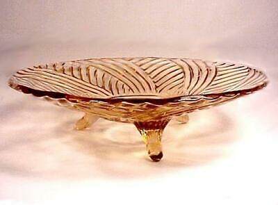 "Hocking Pink Depression Glass Footed 10"" Bowl Vintage Art Deco Prismatic Swirl"
