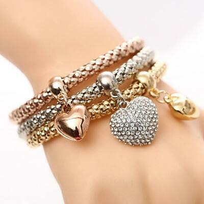 3 Pcs/Set Crystal Heart Charm Bracelets & Bangles Gold/Silver Plated