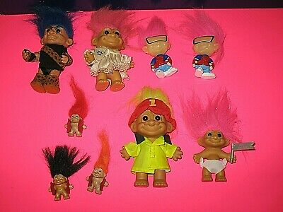 9 Troll Dolls Assorted - Russ - Burger King - Mini - Jewish - Fireman - Caveman