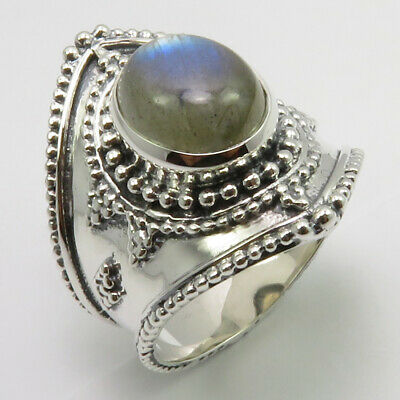925 Sterling Silver Natural Labradorite Old Style Ring Size 9 New Stone
