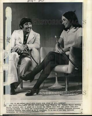 1969 Press Photo Skater Peggy Fleming interviewed on Joe Namath show, New York