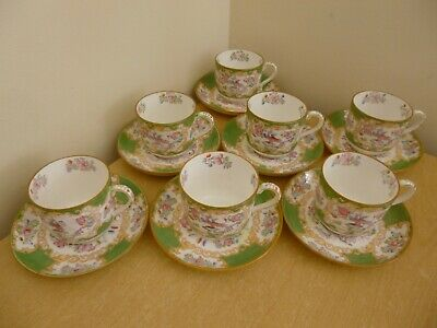 7 Mintons Cockatrice Small Cups & Saucers - Vintage - 4863