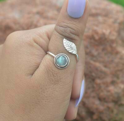 Labradorite 925 Silver Ring, Black Moonstone Blue Fire Feather Adjustable Ring